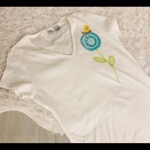 Real Clothes Petite Small White NWOT Sequin Shirt